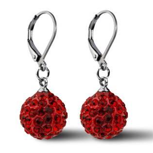 Oceľové náušnice guličky - červené kryštály