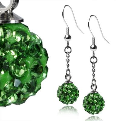Oceľové náušnice guličky - zelené kryštálmi