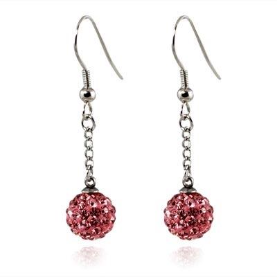 Oceľové náušnice guličky - ružové kryštály