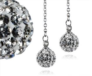 Ocelové náušnice kuličky - čiré krystaly