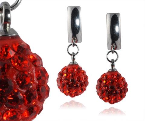Oceľové náušnice guličky - červené kryštálmi