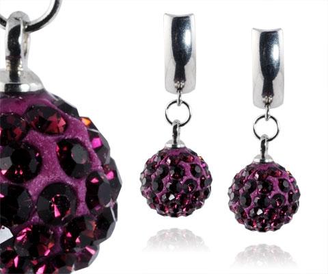 Oceľové náušnice guličky - tmavo fialové kryštály