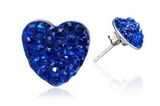 Ocelové náušnice srdíčka 8 mm - tmavě modré krystaly ESW1031