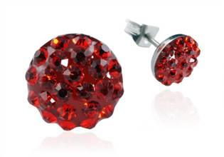 Ocelové náušnice 8 mm - červené krystaly ESW1042