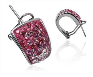 Oceľové náušnice - Pink kryštály ESW1046