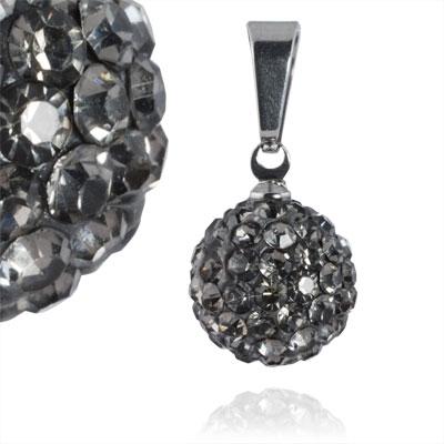 Ocelový přívěšek kulička 12 mm - šedé krystaly