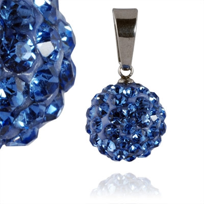Ocelový přívěšek kulička 12 mm - světle modré krystaly