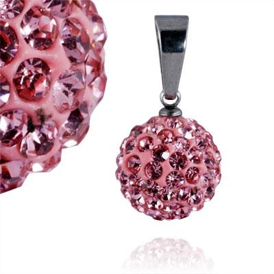 Ocelový přívěšek kulička 12 mm - růžové krystaly