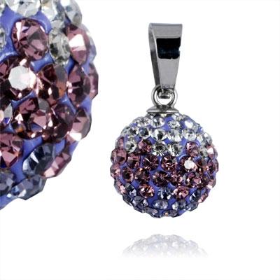 Ocelový přívěšek kulička 12 mm - fialkové krystaly