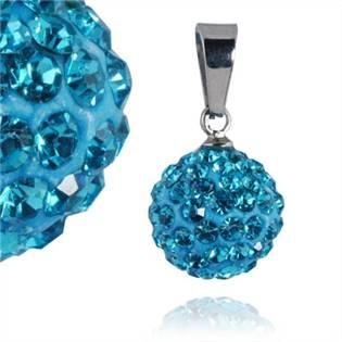 PSW1014 Ocelový přívěšek kulička 12 mm - tyrkysové krystaly