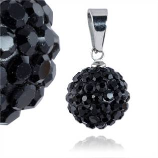 PSW1015 Ocelový přívěšek kulička 12 mm - černé krystaly