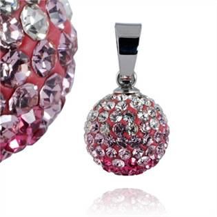 Ocelový přívěšek kulička 12 mm - čiré a růžové krystaly