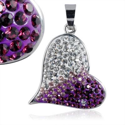 Ocelový přívěšek srdce - čiré a fialové krystaly