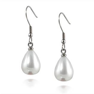 Oceľové náušnice perličky kvapky biele