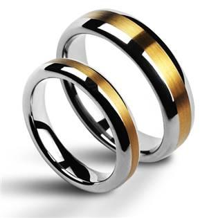 Dámsky snubný prsteň volfrám, šírka 4 mm, veľ. 54