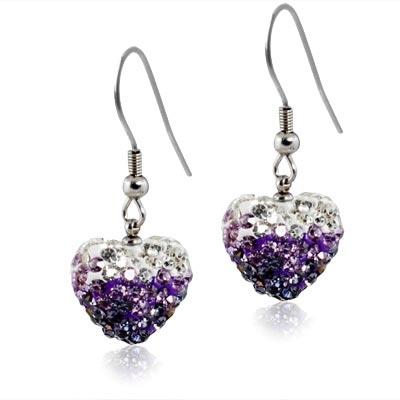 Ocelové náušnice srdíčka - čiré a fialkové krystaly