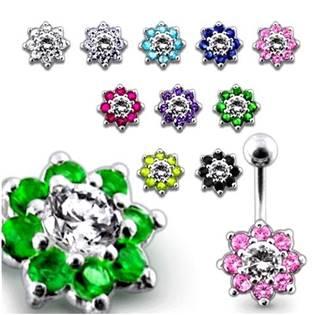 Šperky4U Stříbrný piercing do pupíku - kytička - BP01257-P