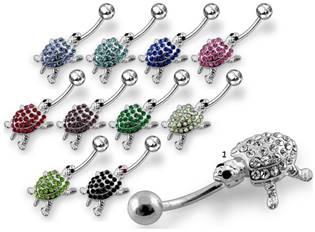 Šperky4U Stříbrný piercing do pupíku - želva - BP01238-K