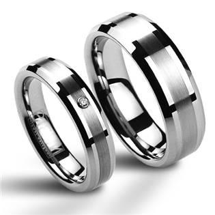 Dámsky snubný prsteň volfrám, šírka 8 mm, veľ. 48