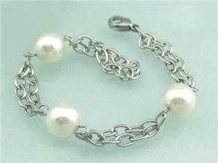 Oceľový náramok - biele perličky