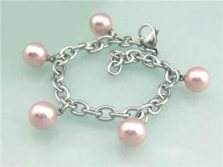 Oceľový náramok - ružové perličky