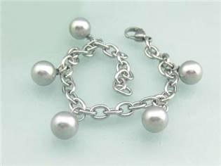 Oceľový náramok - perličky striebristo šedé