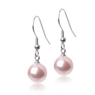Oceľové náušnice perličky ružové, 10 mm