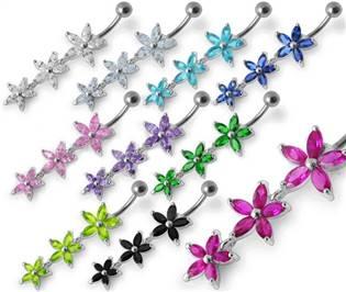 Šperky4U Stříbrný piercing do pupíku - kytičky - BP01138-A