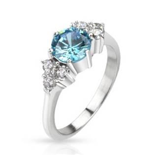 Ocelový prsten s tyrkysovým zirkonem