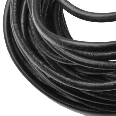 Kožená šnúrka okrúhla čierna, hr. 3 mm
