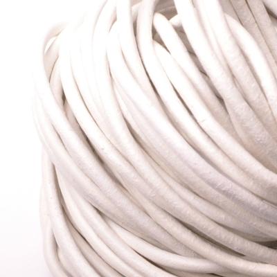 Kožená šnúrka guľatá biela, hr. 3 mm