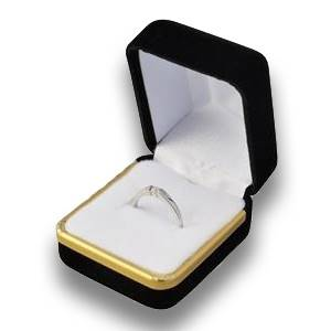 Darčeková krabička na prsteň - modrý semiš