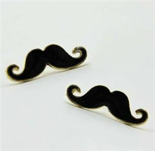 Zlacené náušnice - mustache - knír