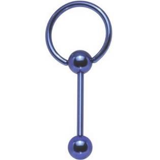 Piercing do jazyka s kruhem - modrý, tyčka 1,6 x 18 mm
