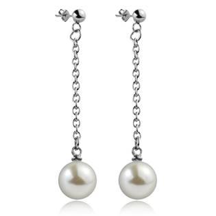 Oceľové náušnice visiace perličky biele , 10 mm