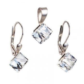 Strieborný set náušníc a prívesku s kryštálmi Crystals from Swarovski ®, kocky Crystal