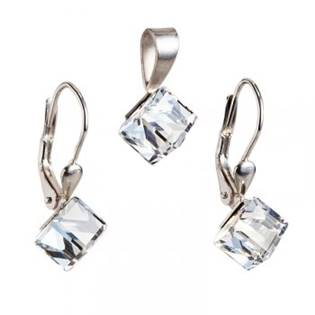 Stříbrný set náušnic kostky Crystals from Swarovski® Crystal