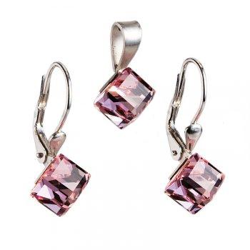 Strieborný set náušníc a prívesku s kryštálmi Crystals from Swarovski ®, kocky Rose