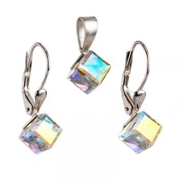 Strieborný set náušníc a prívesku s kryštálmi Crystals from Swarovski ®, Kocky Crystal AB