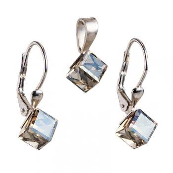 Strieborný set náušníc a prívesku s kryštálmi Crystals from Swarovski ®, Kocky Gold shadow