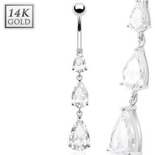 Šperky4U Zlatý piercing do pupíku - kapky, Au 585/1000 - ZL01013-WG