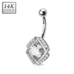 Zlatý piercing do pupíku - kubické zirkony, Au 585/1000
