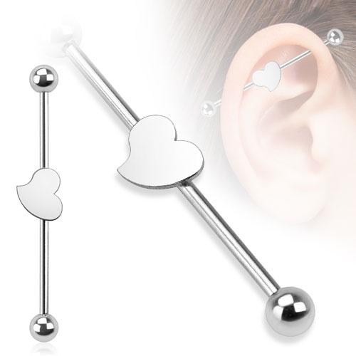 Industrial piercing - srdíčko, 1,6 x 38 mm