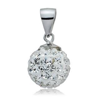 Strieborný prívesok guľa 10 mm, Swarovski Elements, Crystal