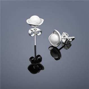 Perlové náušnice Buka Lotus mini - biele perly