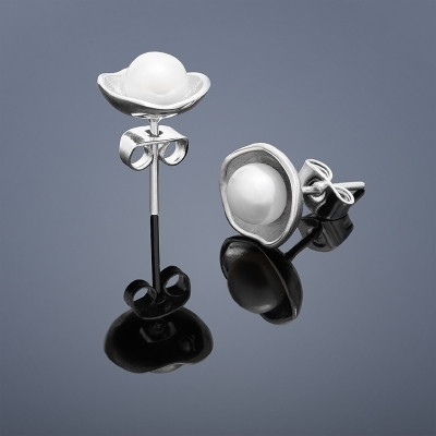 Perlové náušnice Buka Lotus - biele perly