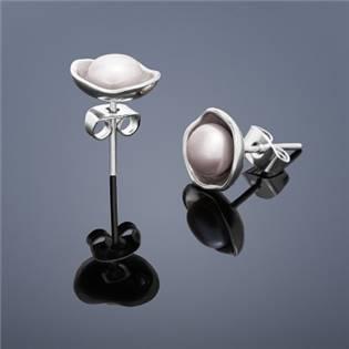 Perlové náušnice Buka Lotus - ružové perly