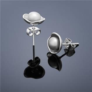 Perlové náušnice Buka Lotus - šedé perly
