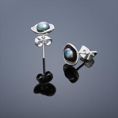 Perlové náušnice Buka Lotus - čierne perly