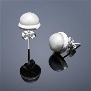 Perlové náušnice Buka , veľké - šedé perly